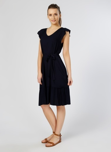 Limon Company Kısa Kollu Midi Elbise Lacivert